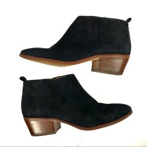 J. Crew Sawyer Suede Boots Ankle Booties Black 8.5